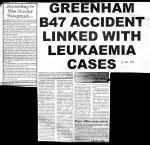 Greenham B47 accident linked with Leukaemia cases
